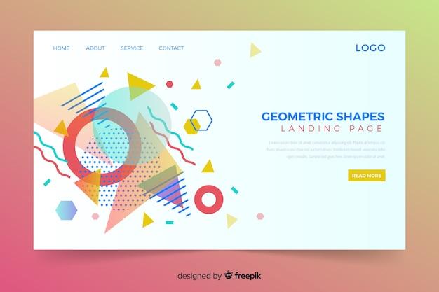 Página de destino geométrica com formas coloridas de memphis