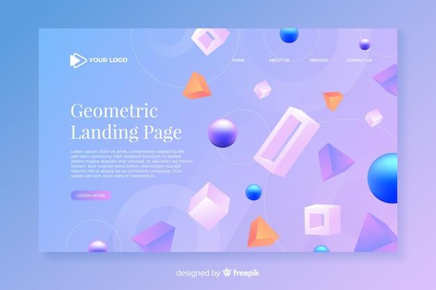 Página de destino geométrica com modelos 3d