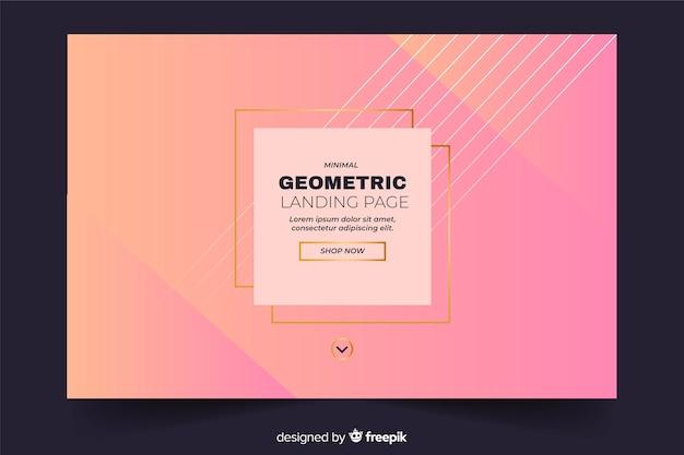 Página de destino geométrica em tons de rosa e quadrados