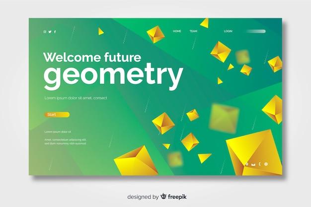 Página de destino geométrica futura 3d com diamantes dourados