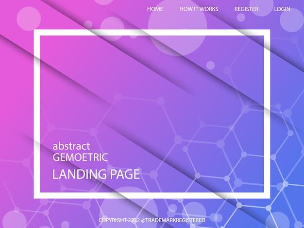 Página de destino geométrica mínima com composição dinâmica de formas