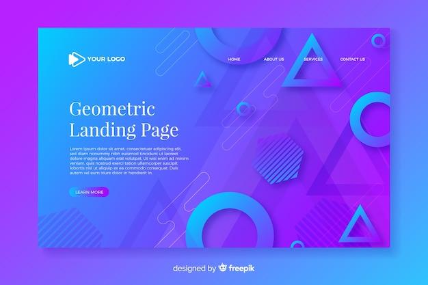 Página de destino gradiente colorida com elementos geométricos