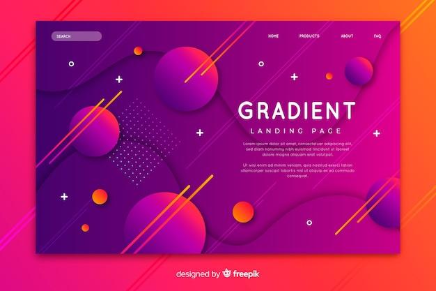 Página de destino gradiente colorida com modelos geométricos