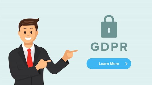 Página de destino horizontal da regulação geral de proteção de dados