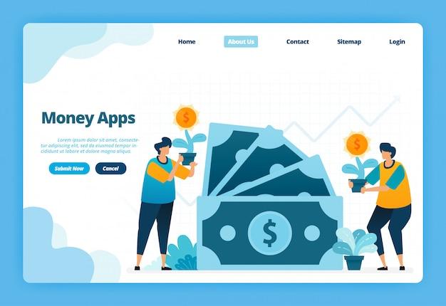 Página de destino ilustração de aplicativos de dinheiro. opções de investimento bancário e financeiro