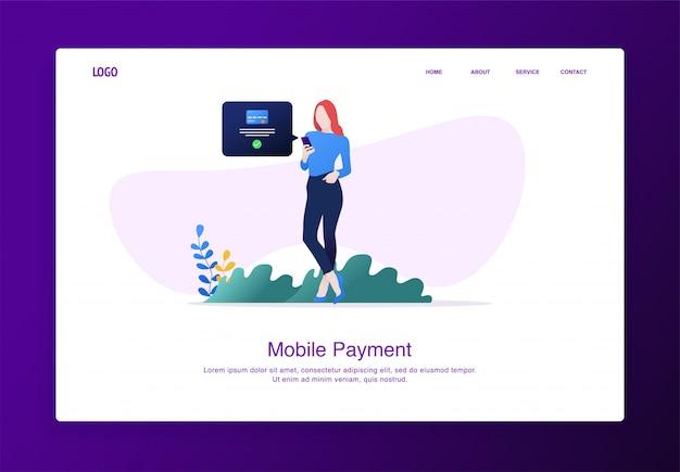 Página de destino ilustração de mulher em pé ao fazer pagamentos on-line móveis com smartphone