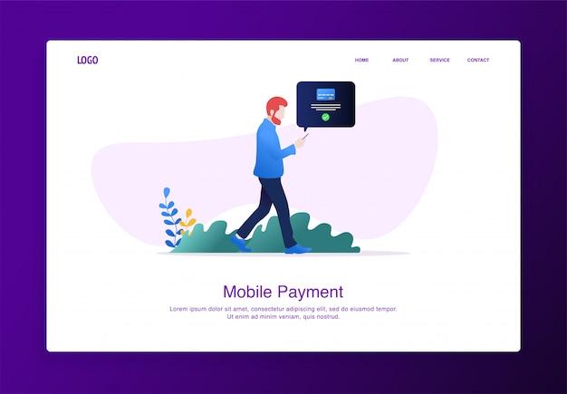 Página de destino ilustração do homem andando enquanto faz pagamentos online móveis com smartphone