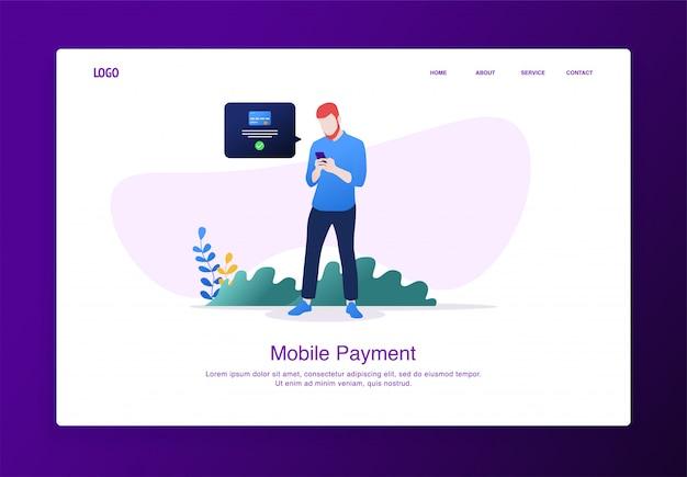 Página de destino ilustração do homem em pé ao fazer pagamentos on-line móveis com smartphone