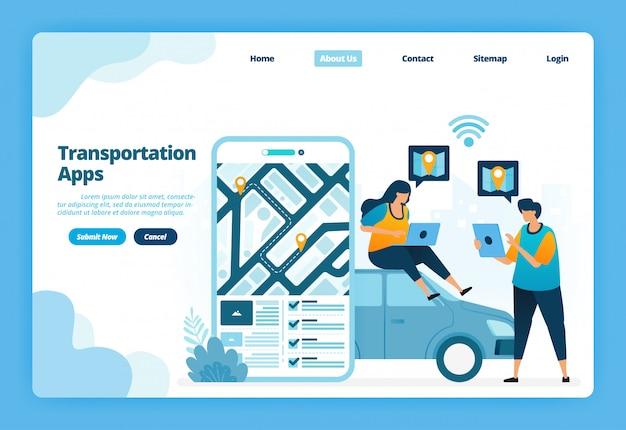 Página de destino ilustração dos aplicativos de transporte. reserve e alugue transporte urbano com aplicativos