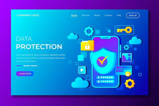 Página de destino ilustrada da proteção de dados