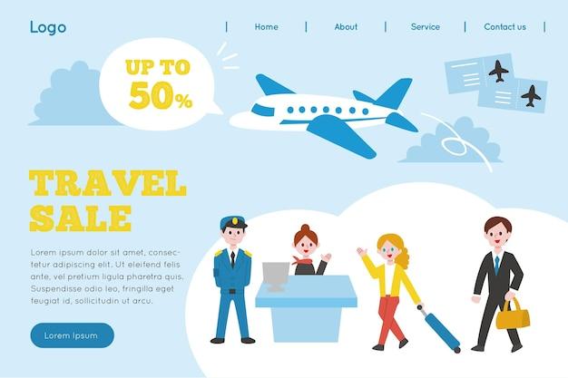 Página de destino ilustrada de venda de viagens