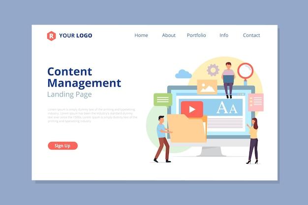 Página de destino ilustrada do sistema de gerenciamento de conteúdo