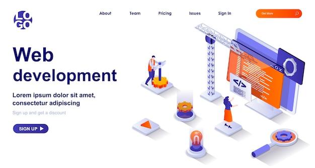 Página de destino isométrica 3d de desenvolvimento web com personagens de pessoas Vetor Premium