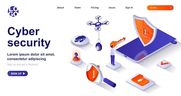 Página de destino isométrica 3d de segurança cibernética com personagens de pessoas