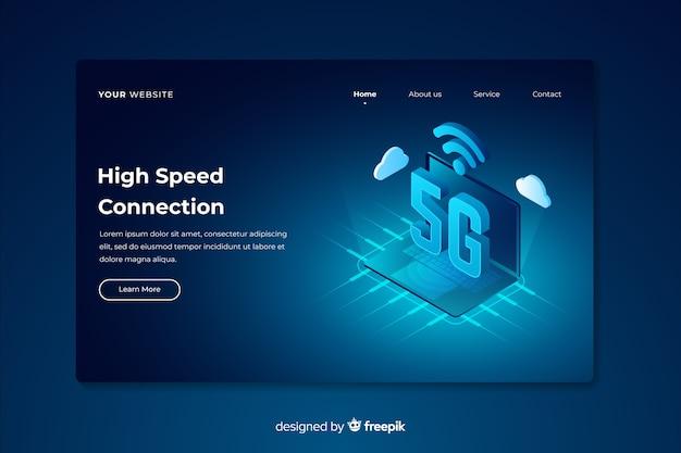 Página de destino isométrica 5g de alta velocidade