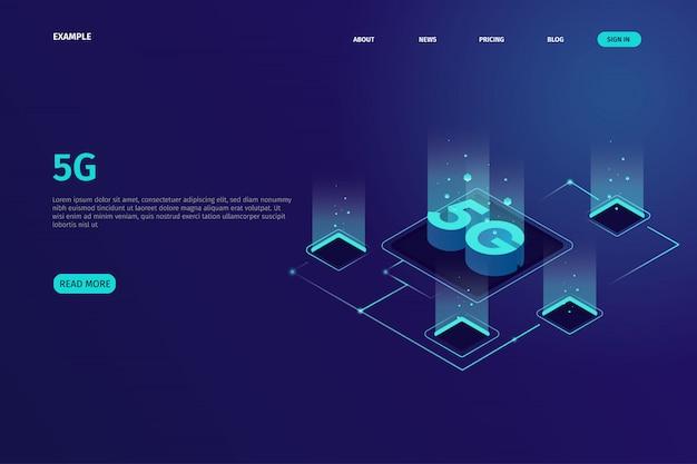 Página de destino isométrica 5g para o site