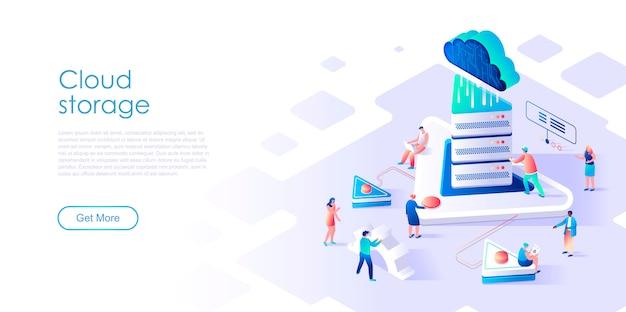 Página de destino isométrica armazenamento em nuvem ou conceito plano de tecnologia