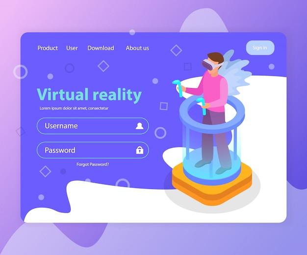 Página de destino isométrica com formulário de login e homem vestindo ilustração 3d de óculos de realidade virtual