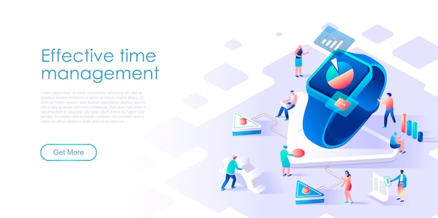 Página de destino isométrica conceito plano de gestão de tempo de negócios