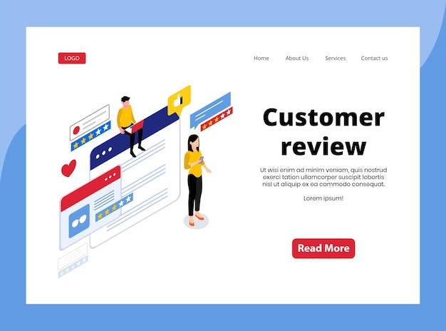 Página de destino isométrica da avaliação do cliente