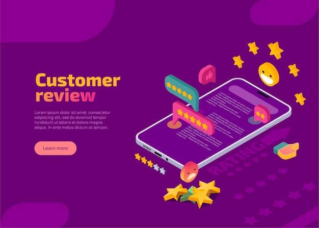Página de destino isométrica da avaliação do cliente.