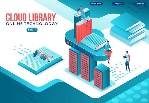 Página de destino isométrica da biblioteca on-line