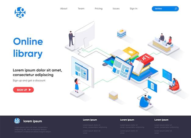 Página de destino isométrica da biblioteca online