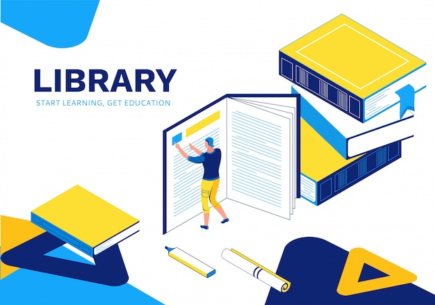 Página de destino isométrica da biblioteca