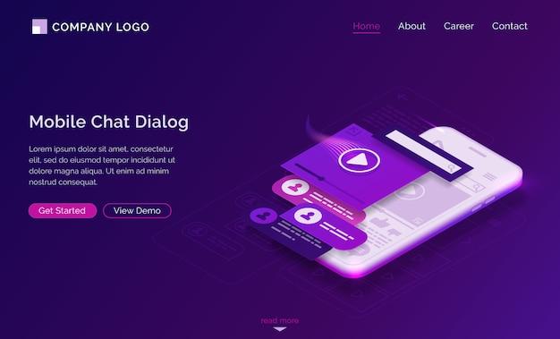Página de destino isométrica da caixa de diálogo de bate-papo para celular