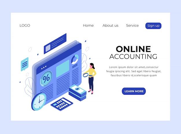 Página de destino isométrica da contabilidade on-line