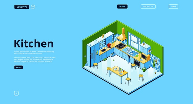 Página de destino isométrica da cozinha doméstica
