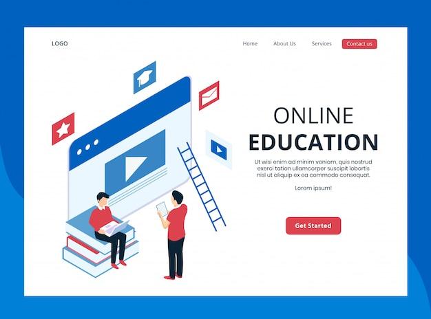 Página de destino isométrica da educação on-line