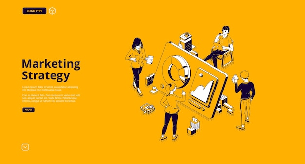 Página de destino isométrica da estratégia de marketing
