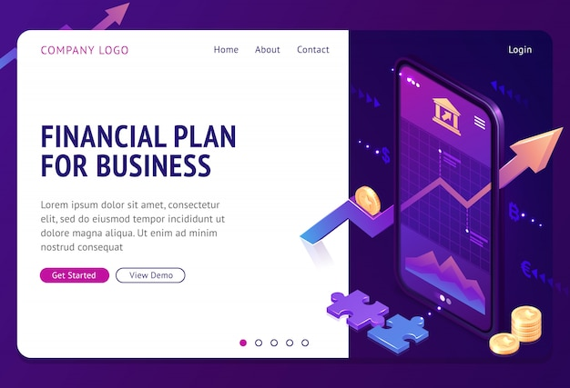 Página de destino isométrica da estratégia do plano financeiro