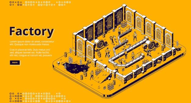 Página de destino isométrica da fábrica, pessoas trabalham na linha de montagem, trabalhadores na esteira rolante com braços de cyborgs e produção de garrafas. processo de automação, poluição da natureza, banner da web de arte vetorial 3d