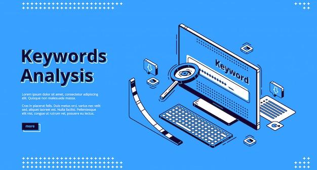 Página de destino isométrica da ferramenta de análise de palavras-chave