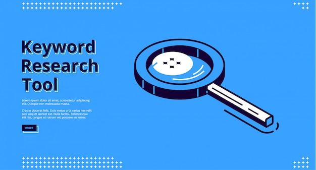 Página de destino isométrica da ferramenta de pesquisa de palavras-chave.