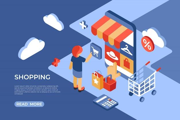 Página de destino isométrica da loja online de compras