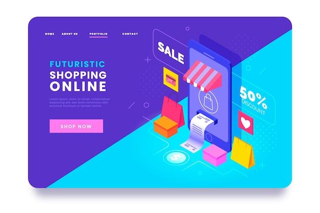 Página de destino isométrica da loja online