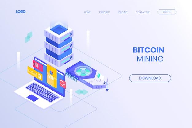 Página de destino isométrica da máquina de mineração de bitcoin