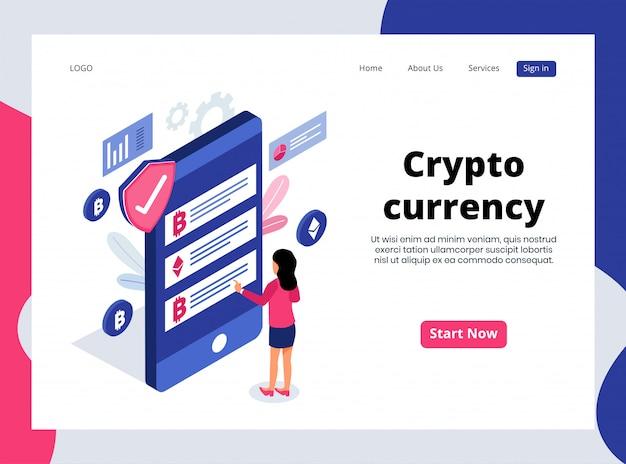 Página de destino isométrica da moeda criptográfica