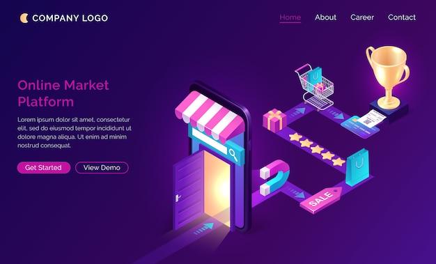 Página de destino isométrica da plataforma de mercado on-line,