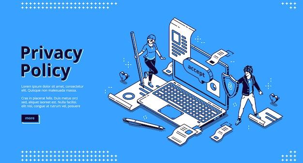 Página de destino isométrica da política de privacidade