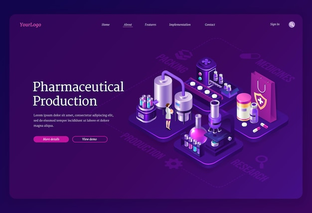 Página de destino isométrica da produção farmacêutica, mulher cientista com um robe stand no laboratório médico
