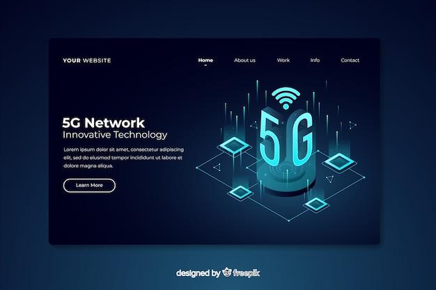 Página de destino isométrica da rede 5g