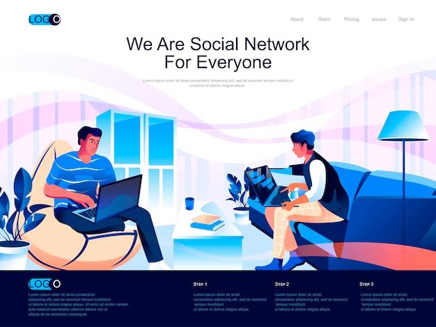 Página de destino isométrica da rede social com situação de caracteres planos