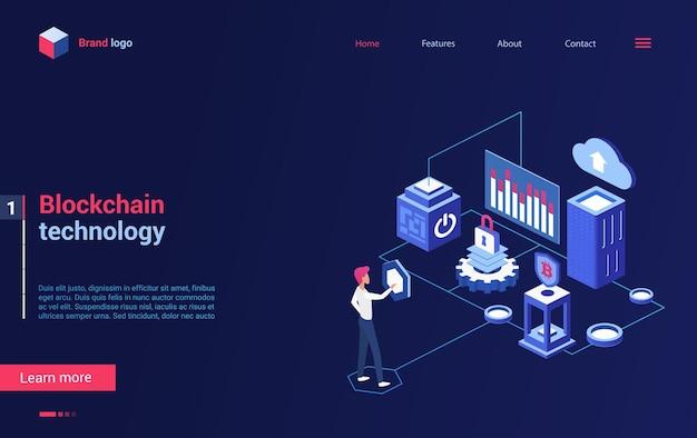Página de destino isométrica da tecnologia de criptografia blockchain, análise de bitcoin de criptomoeda