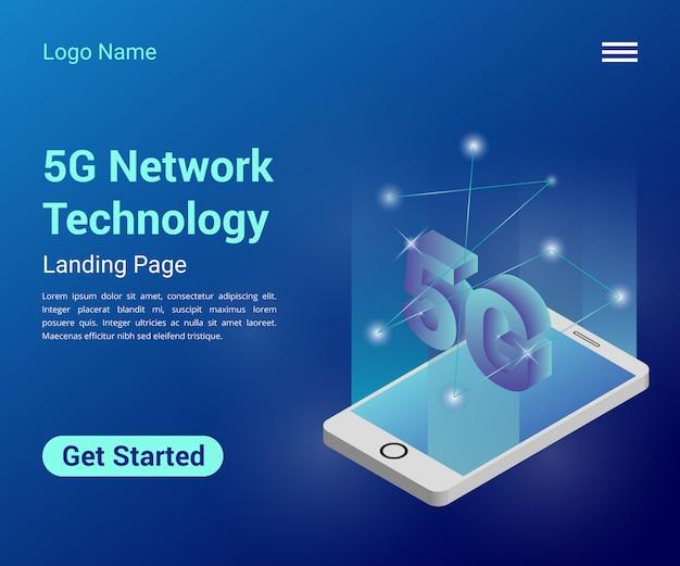 Página de destino isométrica da tecnologia de rede 5g