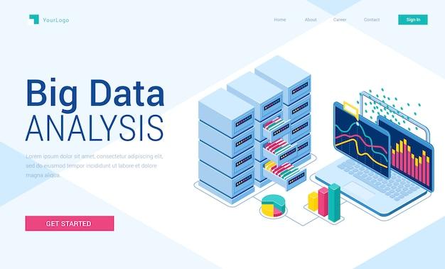 Página de destino isométrica de análise de big data, banner