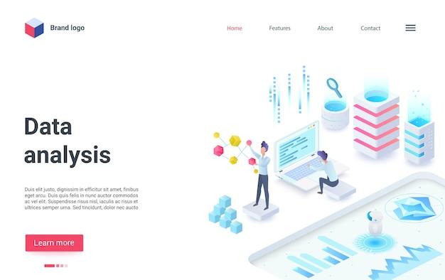 Página de destino isométrica de análise de dados de investimento empresarial estudando informações de dados